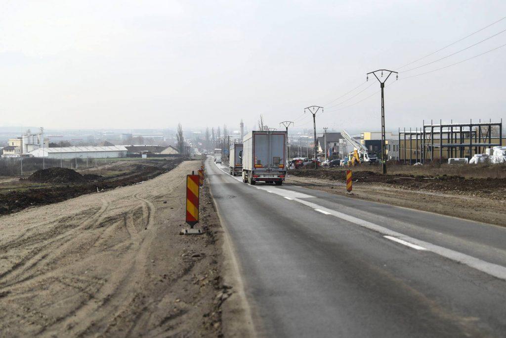 Se lucrează, în condiții de iarnă, pe șoseaua Timișoara – Giarmata, între Centură și nodul cu A1