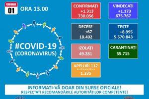 1.313 noi infectări cu covid și 67 de decese la nivel național