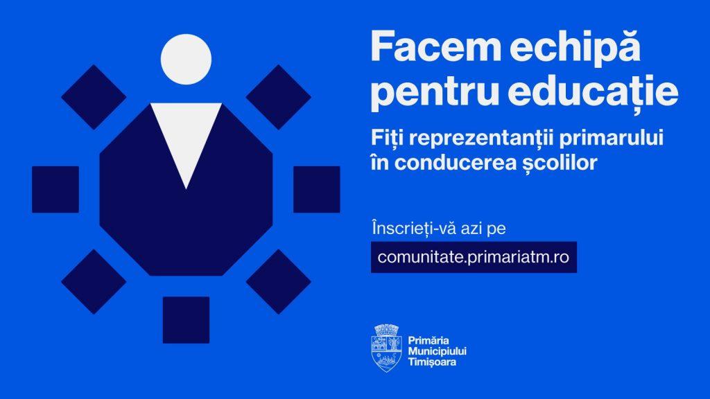 Primăria invită timișorenii în consiliile de administrație ale unităților de învățământ