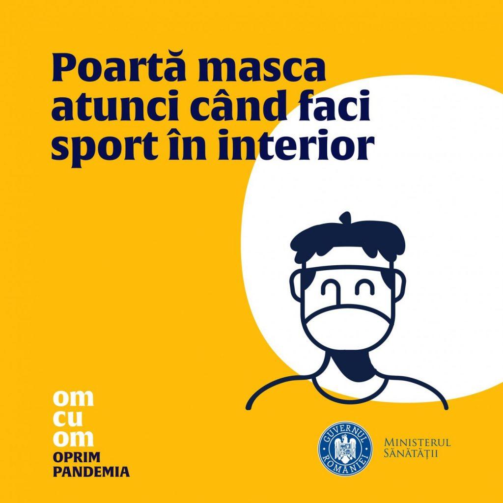 Ministerul Sănătății susține ferm purtarea măștii în timpul activităților sportive care se desfășoară în interior