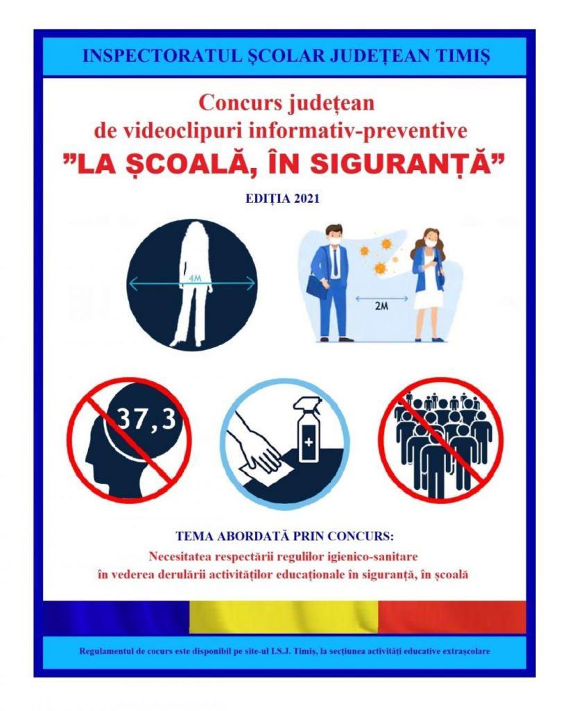 """Concurs județean de videoclipuri informativ-preventive """"La școală, în siguranță"""""""
