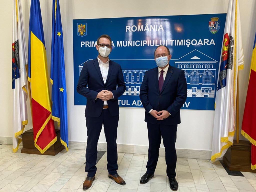 Ministrul Afacerilor Externe, întrevedere cu primarul Dominic Fritz la Timișoara