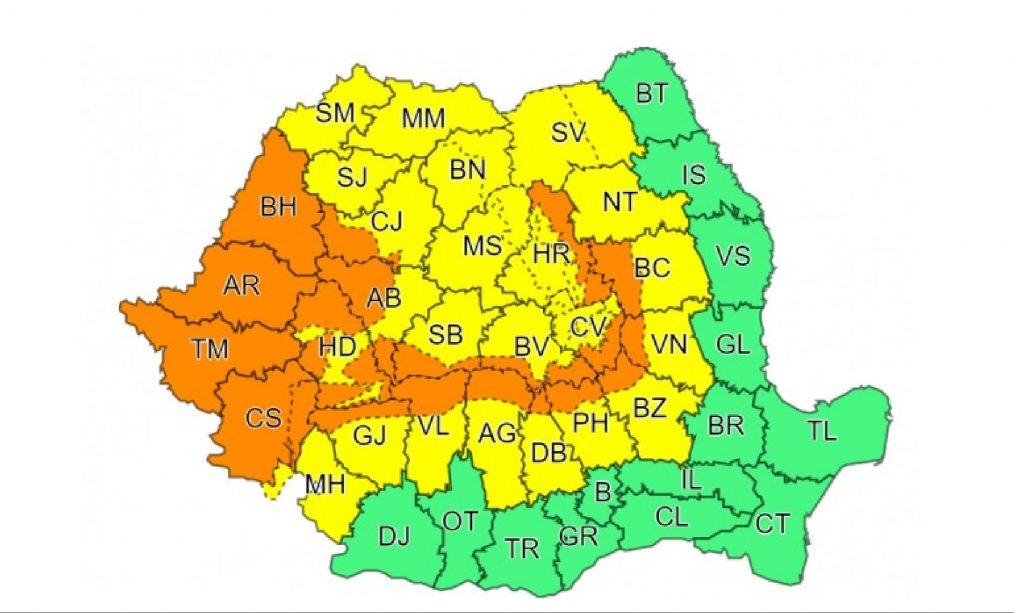 Cod portocaliu de ploi puternice în zona de vest