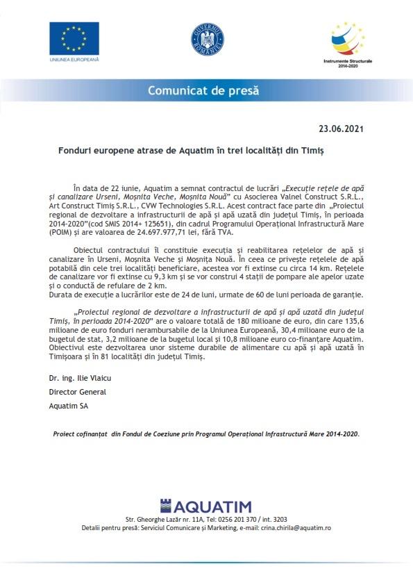 Fonduri europene atrase de Aquatim în trei localități din Timiș