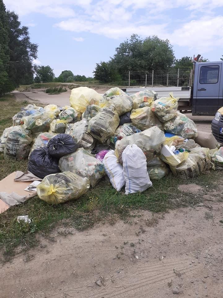 Zeci de saci cu deșeuri reciclabile aruncate la întâmplare pe malul Timișului, colectate de voluntari
