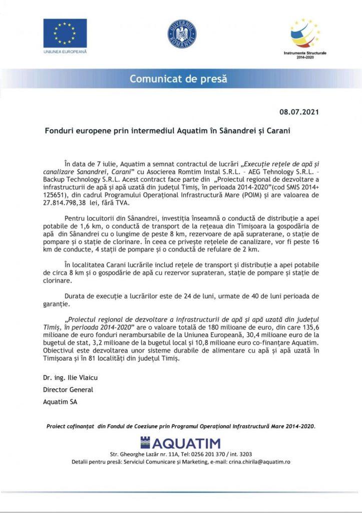 Fonduri europene prin intermediul Aquatim în Sânandrei și Carani