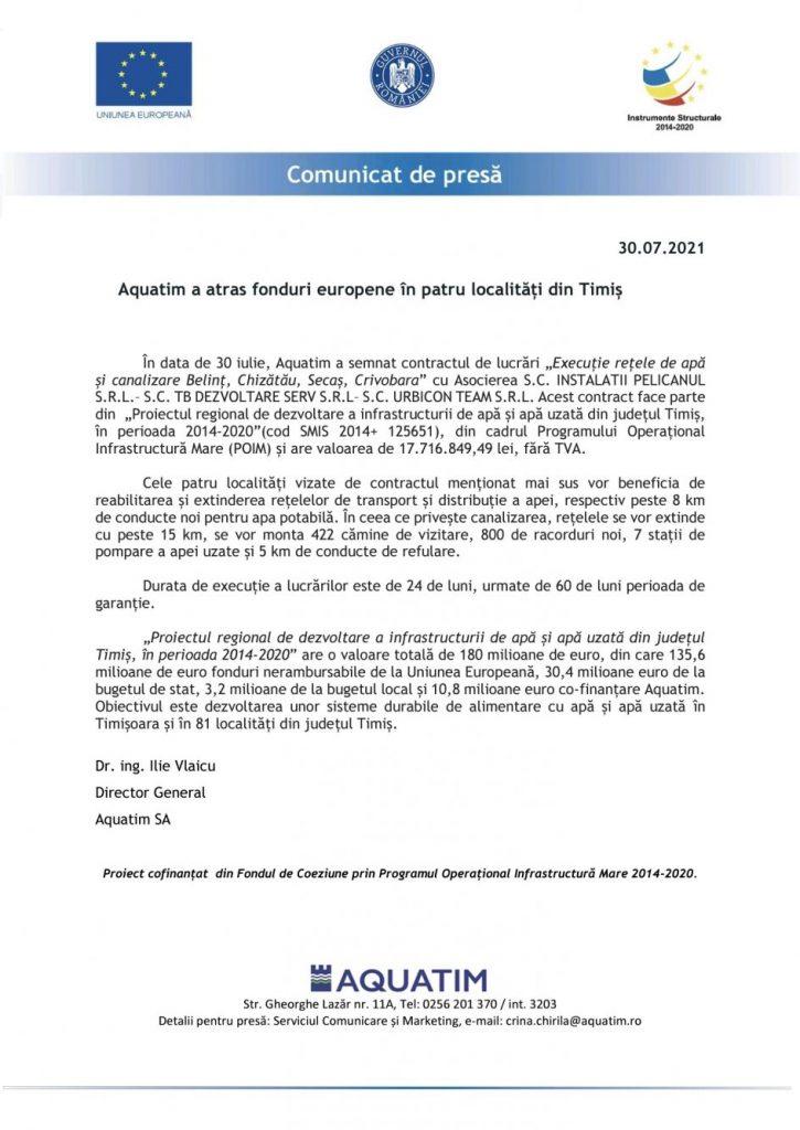 Aquatim a atras fonduri europene în patru localități din Timiș