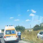 Mașină de poliție ieșită din decor pe un drum de lângă Timișoara