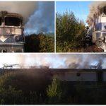 Locomotivă în flăcări. Traficul feroviar este blocat între Timișoara și Arad