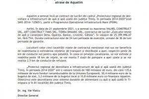 Mai multe localități din județ, beneficiare ale fondurilor europene atrase de Aquatim
