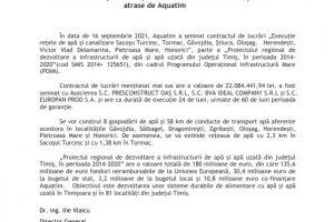 Încă nouă localități din Timiș vor beneficia de fonduri europene atrase de Aquatim