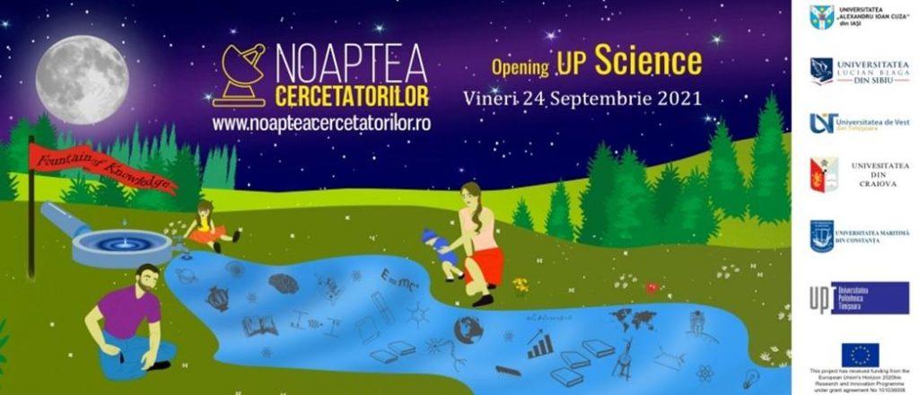 """UVT vă invită să participați la """"Noaptea Cercetătorilor 2021"""", sub genericul """"Opening Up Science"""""""
